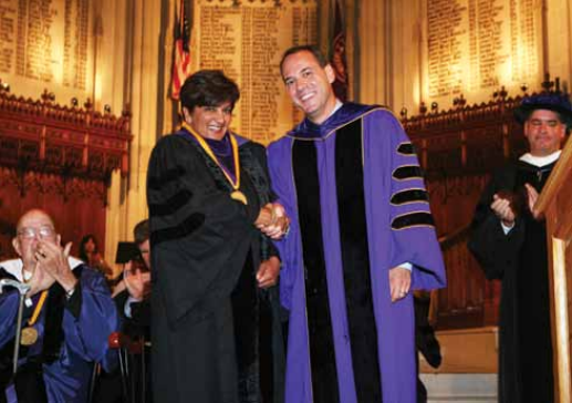 Bal, receiving a Bicentennial Medal from Williams President Adam Falk, at convocation Sept. 10.