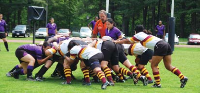 Williams ruggers (in white jerseys) will attempt a 24-hour match against Keene State to raise money for breast and colorectal cancer research.