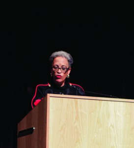 Johnetta B. Cole addresses a crowd of 250.