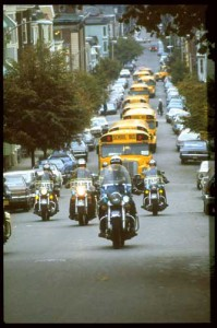 Oct. 1, 1974: Court-ordered busing to desegregate Buston's neighborhood school system is under way.