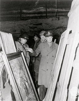 uncovered treasures: From left, Lt. Gen. Omar Bradley, Maj. Irving  Moskowitz, Lt. Gen. George Patton Jr. and Gen.  Dwight Eisenhower inspect the German museum treasures stored in the Merkers salt mine on April 12, 1945.