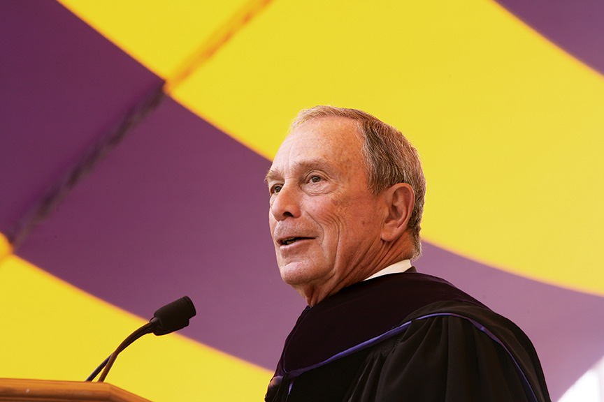 "Bloomberg gave the commencement address, telling the soon-to-be graduates: ""It won't be easy, but I firmly believe you can make even more progress over the next 50 years than we made over the past 50, if you always carry Roosevelt's words with you: Try something. If it fails, learn from it—and try something else."""