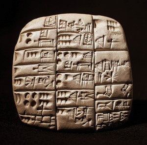 3000 BCE Cuneiform, the earliest human writing system, was developed by the Sumerians in Mesopotamia and consists of wedge-shaped markings impressed into clay tablets.