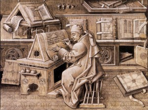 12th century Throughout the Middle Ages, both religious and secular manuscripts were copied by scribes working at monasteries throughout Europe.