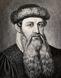 7th century Johannes Gutenberg (1398-1468), a German goldsmith, engraver and printer, invented a mechanical movable type system and combined it with wooden press technology to make possible the mass production of printed books in Europe.