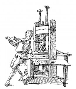 15th-16th century Early printing presses were hand-operated screw presses that applied pressure evenly to the paper below. A pair of printers working in tandem could produce as many as 3,500 pages per day.