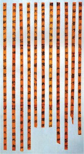 5th-3rd Century Bamboo was a cheap, plentiful writing material used since late Neolithic times. Strips were bound together by strings of hemp or leather. It's believed that the Chinese convention of writing in vertical columns arose because of the use of bamboo.