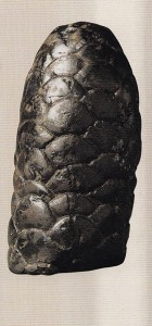ca. 50-121 Ink sticks were rubbed on flat ink stones and mixed with water to produce liquid ink. This one, shaped like a pine cone, comes from the Eastern Han Dynasty and was likely made with pine resin as a binder.