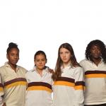 Women's Rugby (from left): Liz Dietz '15 & Nakita VanBiene '15 (co-captains), Medina Mody-Fitzmaurice '15, Norma Rodriguez '18, Gabriella Kallas '16, Lei Brutus '16, Sally Waters '17, Valeria Pelayo '16