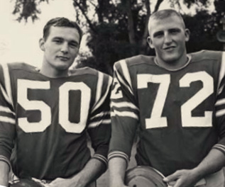 Ben Wagner '64 (right) is one of dozens of teammates organizing the celebration of co-captain Mike Reily's legacy at homecoming this fall.