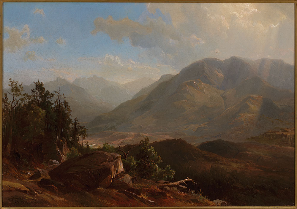 Hermann Fuechsel (American, 1833-1915), Keene Valley, Adirondacks, 1876, oil on canvas, 14 × 20 in. (35.6 × 50.8 cm); frame: 26 1?4 × 32 1?4 in. (66.7 × 81.9 cm), museum purchase. Fulkerson Fund for Leadership in the Arts (M.2015.20).