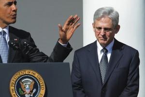 Photo of President Barack Obama at podium next to Merrick Garland.