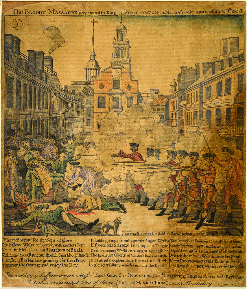 An engraving by Paul Revere depicts British troops firing upon Americans in front of the Customs House in Boston on March 5, 1770.
