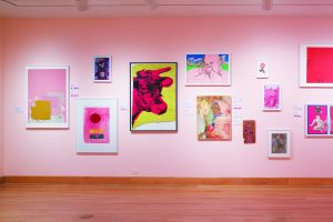 A photo from the WCMA exhibit Pink Art. Arts with various shades of pink hang on a pink wall.