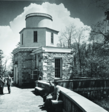Black and white photo of Hopkins Observatory.