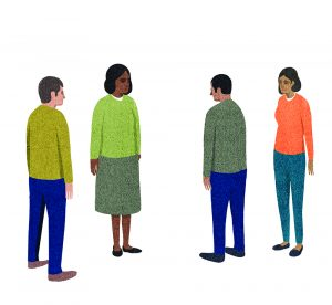 An illustration of four people of various races, standing and facing one another as if in conversation.
