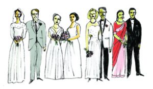 Illustration of several couples in wedding attire.