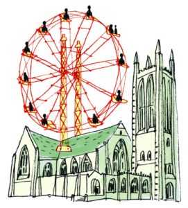 Illustration of a ferris wheel.