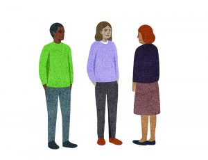 Illustration of three people of various races standing and facing each other, as if in conversation.