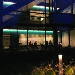 Shot of the Science Center from outside at night.