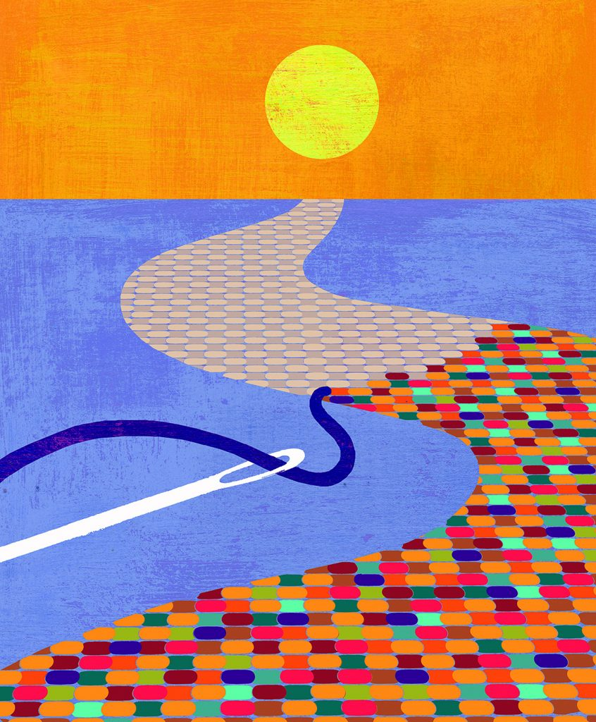 Illustration of a needlework path leading into the horizon
