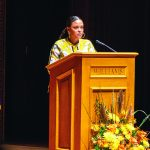 Photo of Jesmyn Ward speaking in Chapin Hall.