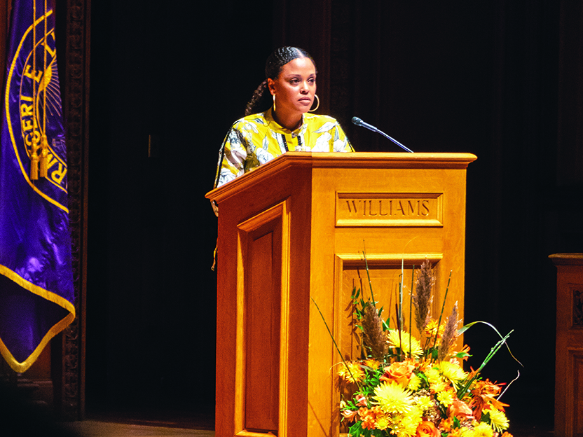 Photo of Jesmyn Ward speaking in Chapin Hall.