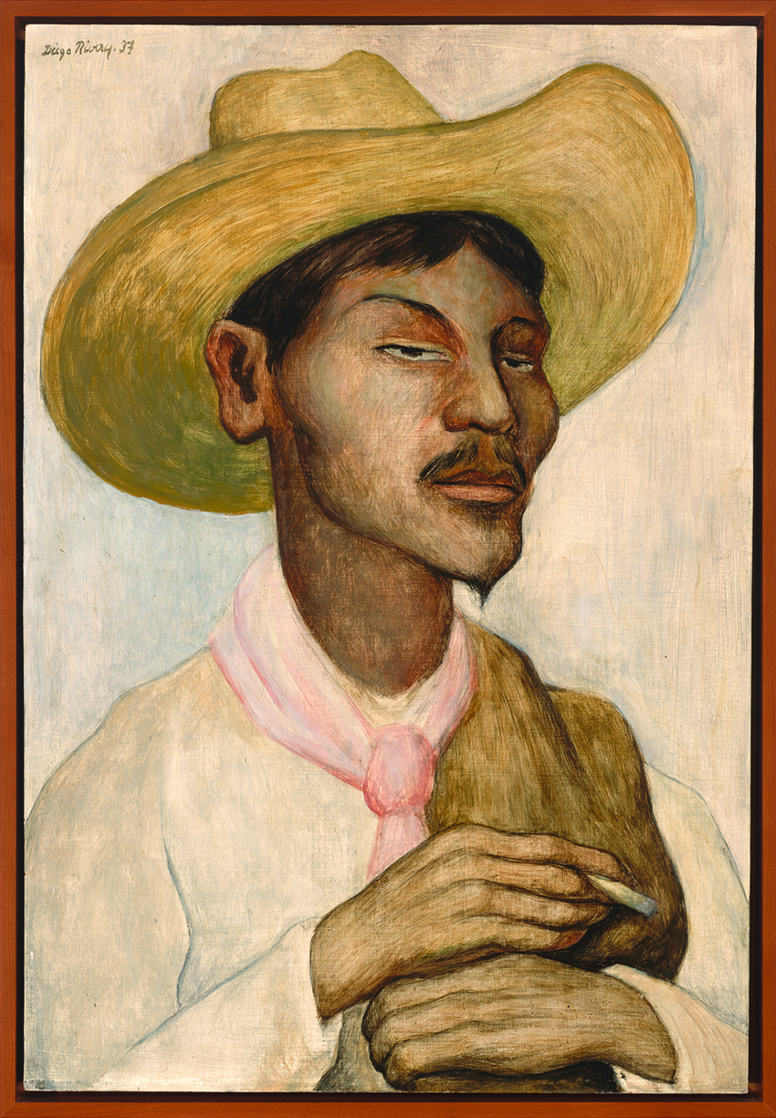 Portrait of Hombre Fumanda (Man Smoking) by Diego Rivera