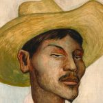 Detail of a painting of a man by Diego Rivera.