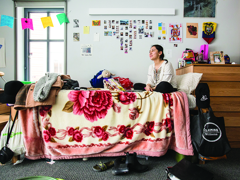 Portrait of a student in her dorm