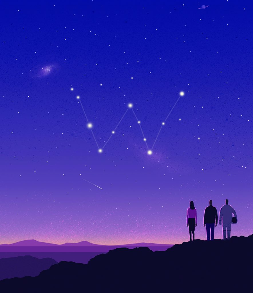 Illustration of three people looking into the sky where a constellation creates a W