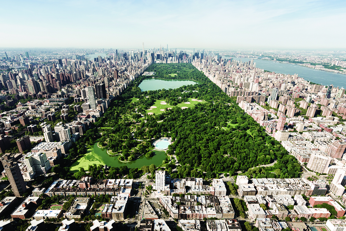 Aerial shot of Central Park, Manhattan, New York.