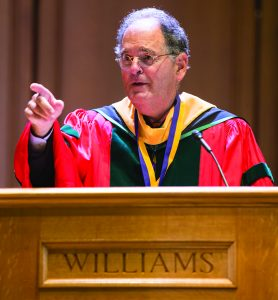 Photo of Martin Samuels, Class of 1967, speaking at Convocation