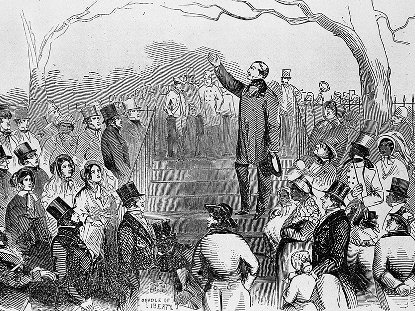 Illustration from 1835 of An Anti-Slavery meeting on Boston common