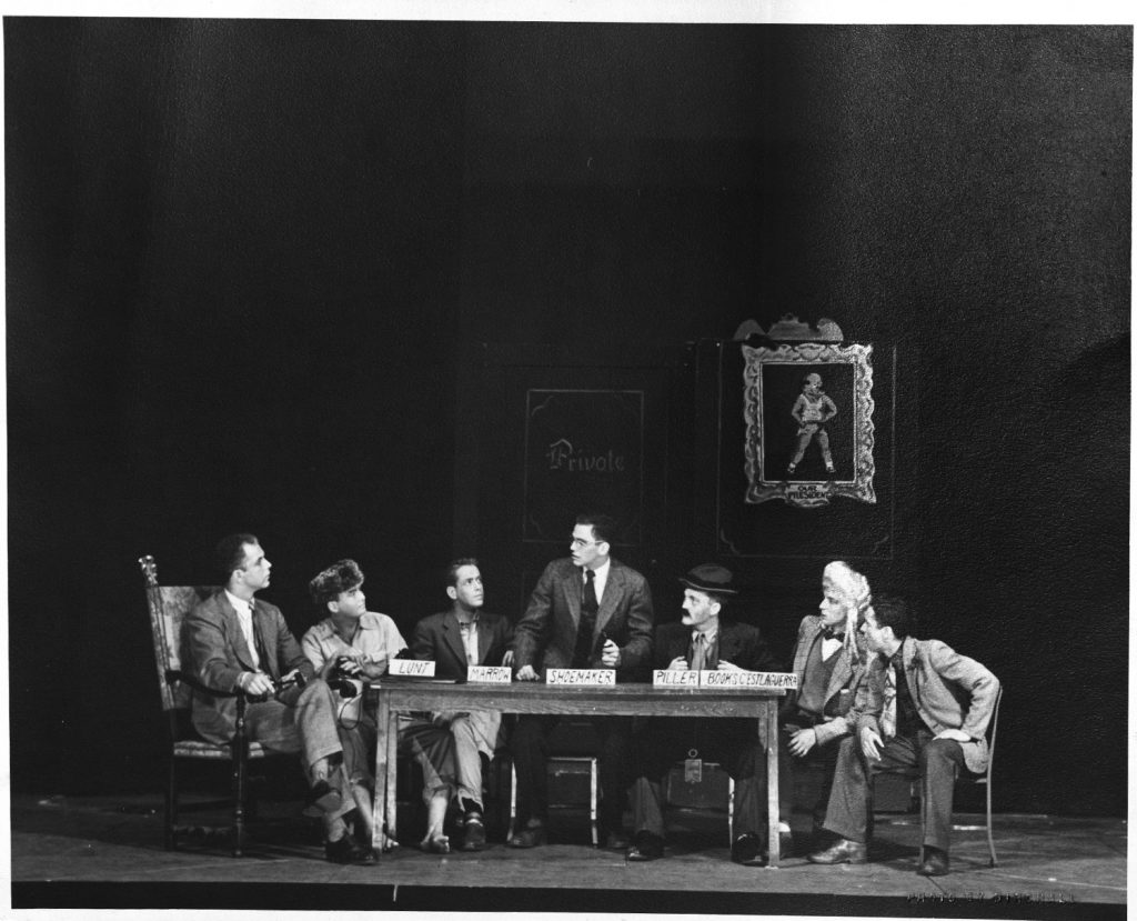 Black and white still from Phinney's Rainbow, a collaboration between Stephen Sondheim '50 and Josiah T.S. Horton '48, was the first musical ever performed by the student theater group Cap and Bells.