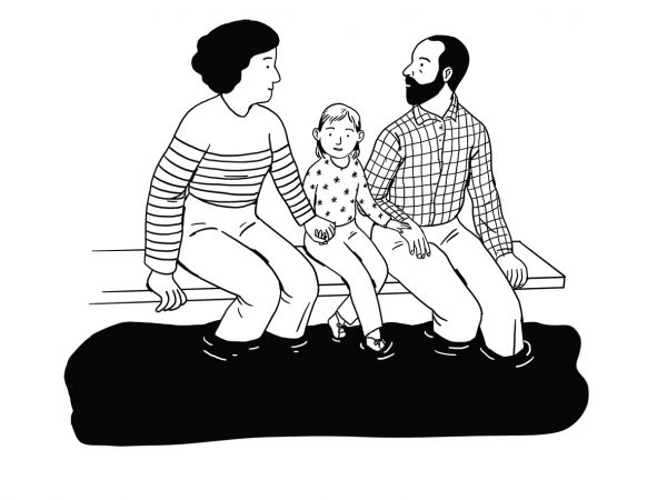 Illustration of parents and a young child sitting on the edge of a diving board with feet in the water.