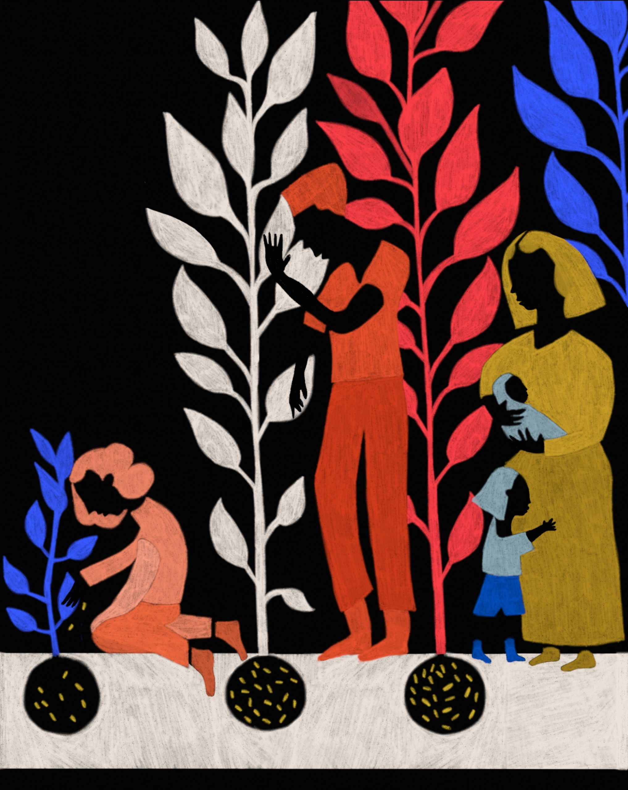 Illustration of three adults and two children tending to plants.