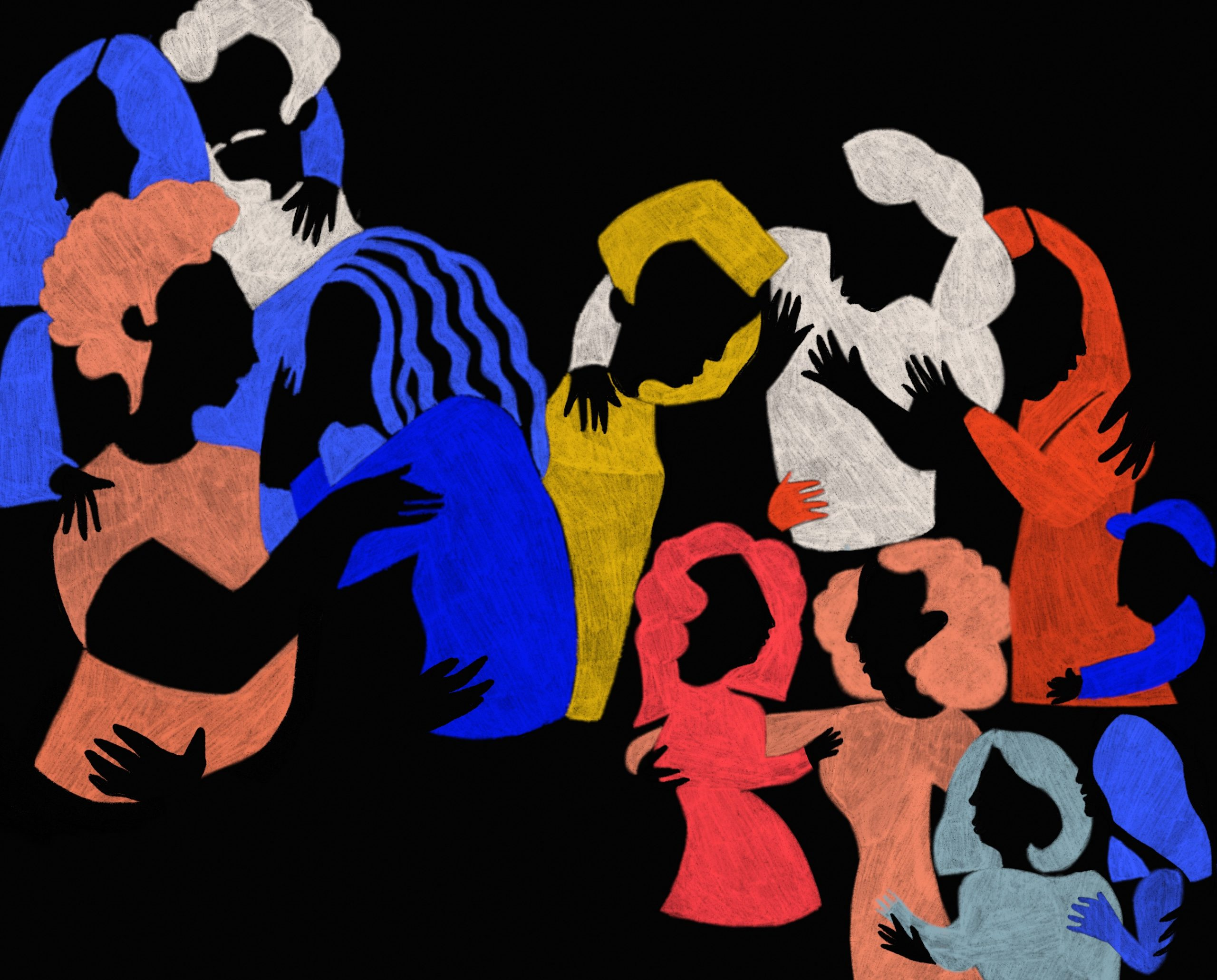 Illustration of people embracing one another