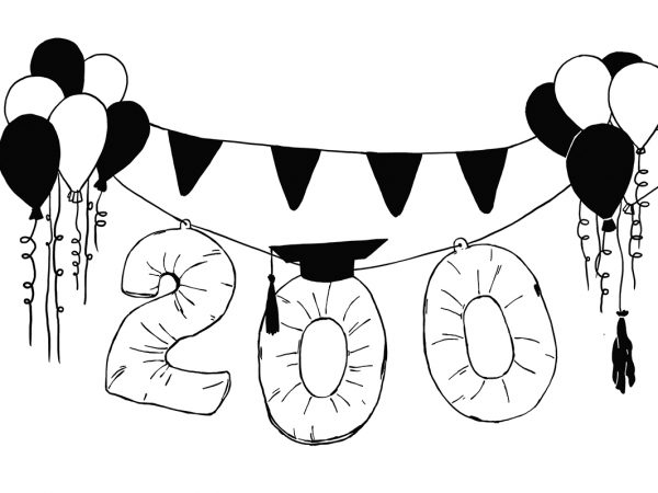 Illustration of balloons in the shape of 200 with banners and streamers.