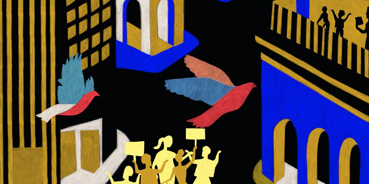 illustration of street celebration
