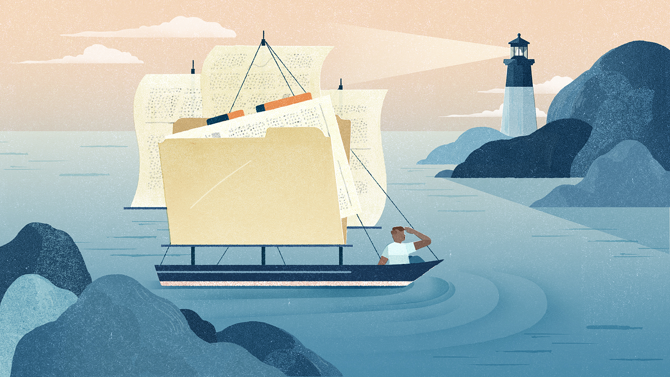 Illustration of a sailboat. The sails are made of a manila folder and papers.