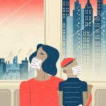 Illustration of parent and child on a bus in New York City looking out the windows wearing protective masks.