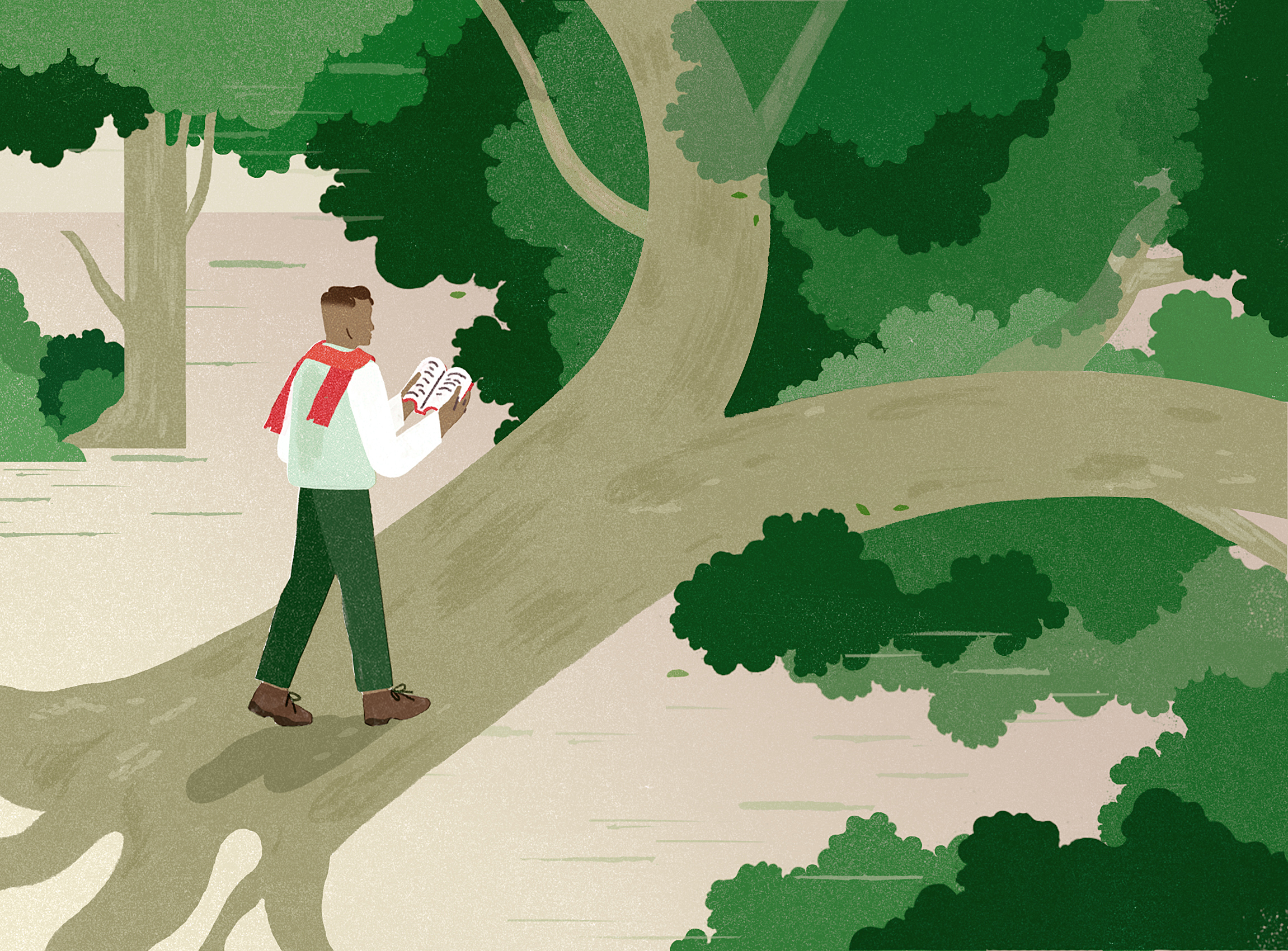 Illustration of a man walking along a fallen tree while reading a book.