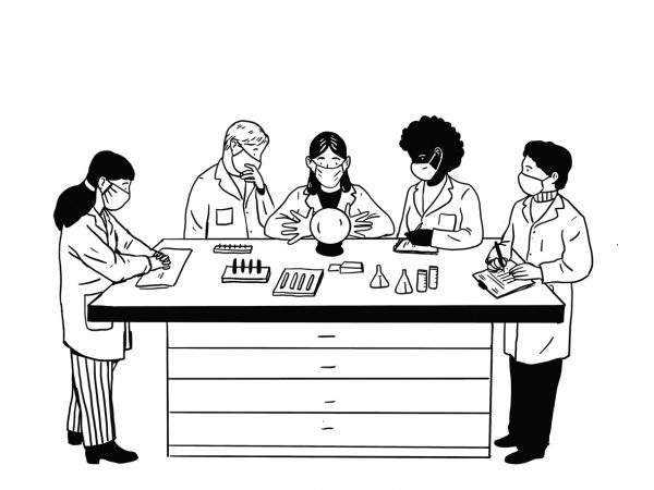 Illustration of five people in lab coats standing around a crystal ball.