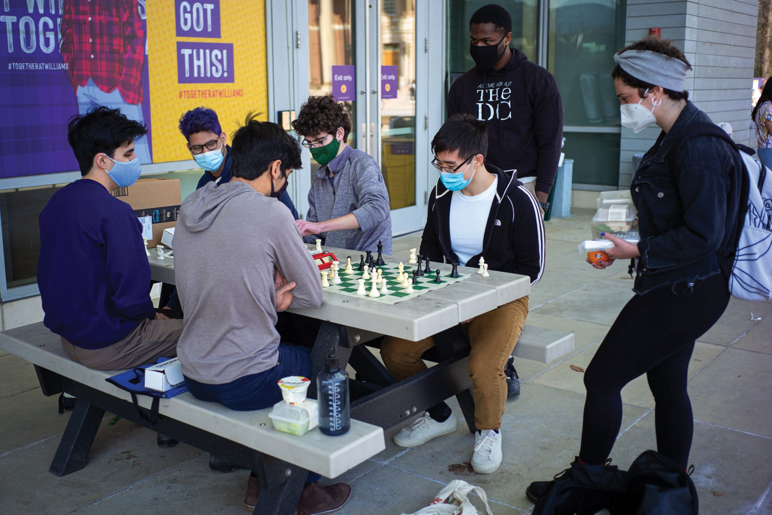 Chess games outside the Paresky Center in March.
