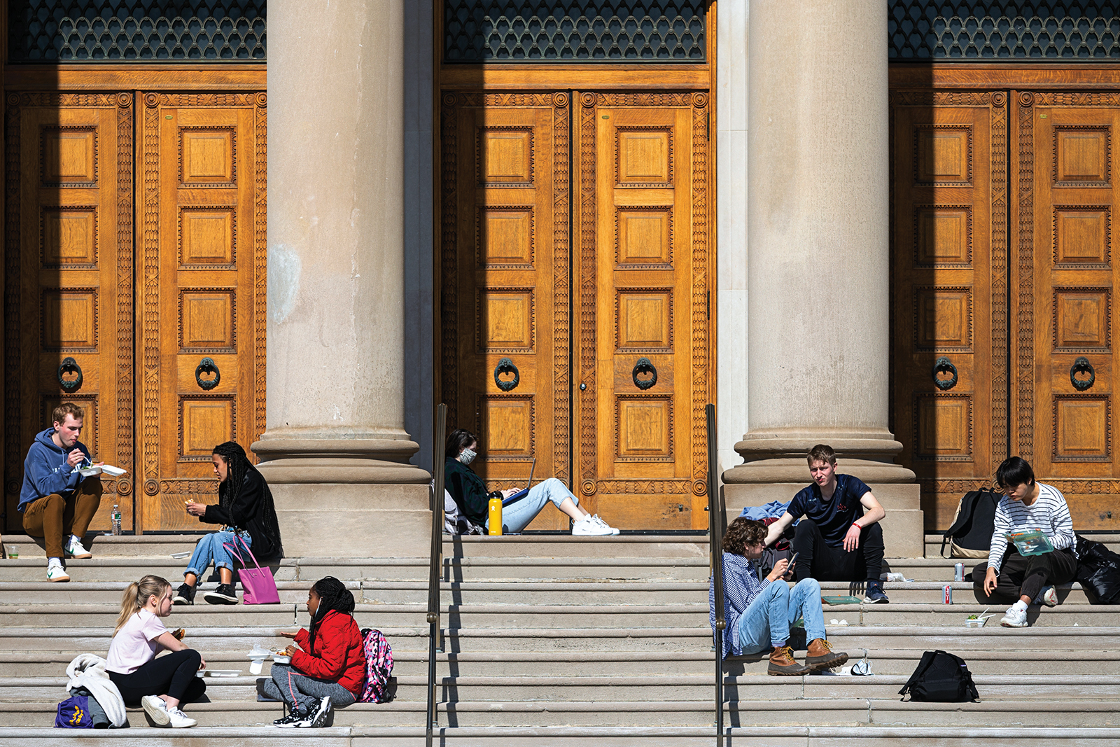 Lunch on the Chapin Hall steps in March.