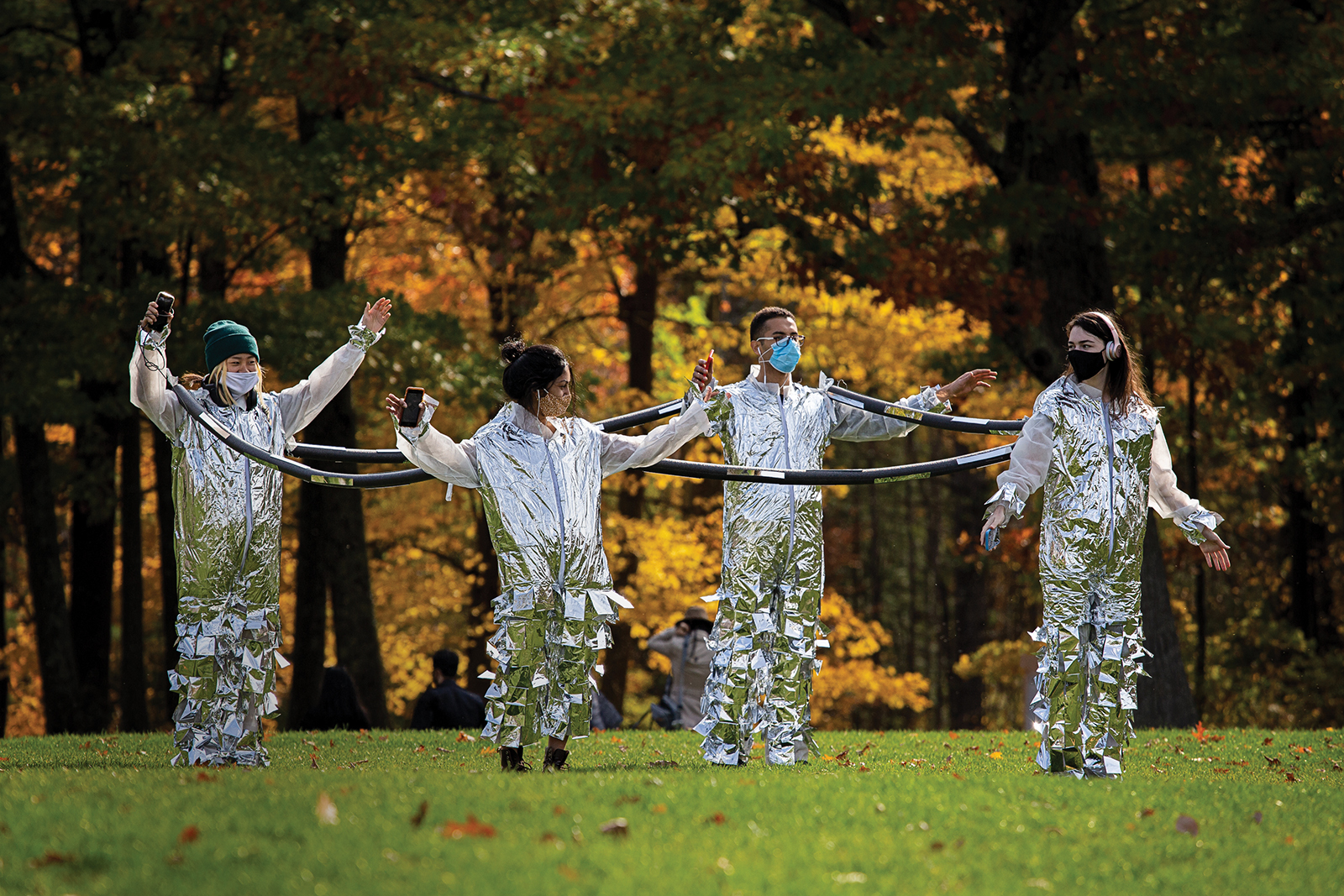 For an event at The Clark Art Institute in October, students taking the two courses Sound and Sculpture exhibit safe-distancing apparatuses and sound works that depict walking in nature during a pandemic.