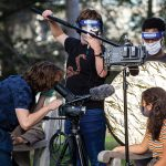 Photo showing students making a film while following pandemic guidelines