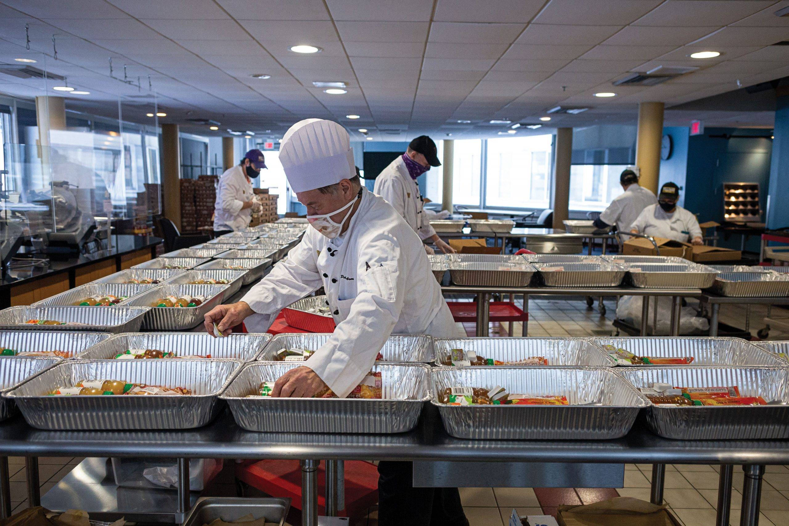 Dining Services prepares meals for students living on campus during winter break.