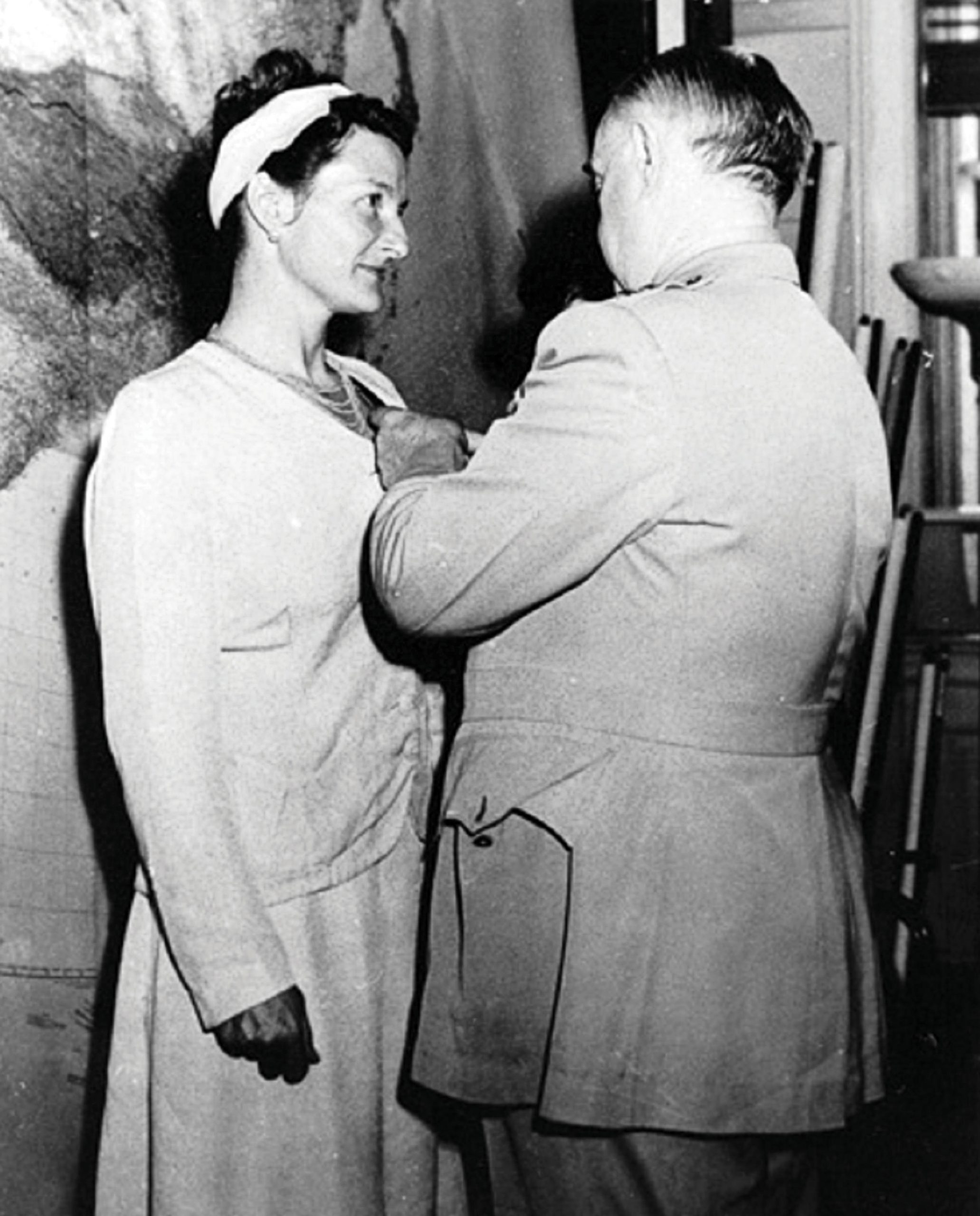 Virginia Hall, an American who worked with the U.K.'s clandestine Special Operations Executive (SOE) and the U.S. Office of Strategic Services, received the Distinguished Service Cross in 1945. Photograph courtesy of GL Archive/Alamy Stock Photo.
